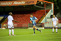 Will De Havilland  of Wycombe Wanderers celebrates after scoring while the  Aldershot Town argue during the Friendly match between Aldershot Town and Wycombe Wanderers at the EBB Stadium, Aldershot, England on 26 July 2016. Photo by Alan  Stanford.