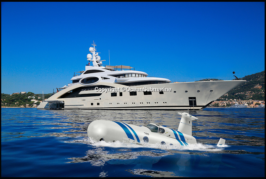 BNPS.co.uk (01202 558833)Pic: OceanSubmarine/BNPS<br /> <br /> An Exterior image of the £20m Neyk Luxury Submarine.<br /> <br /> A new private jet-style submarine has been designed to allow billionaires to travel to their super-yachts in ultra discrete comfort.<br /> <br /> The £20m Neyk Luxury Submarine will be powered by nearly silent twin electric motors of up to 200kW each and be able to dive to a depth of up to 500ft.<br /> <br /> The interior of the 63ft long submersible is similar to that of a private jet and includes a lounge, kicthen, library, a bar and a complete viewing gallery.<br /> <br /> It is aimed at mega-rich super-yacht owners and it's lightweight design has been specifically crafted in order to make it as easy to store as possible.