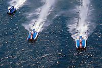 (L to R): #40, #94 and #3 USFORA Formula One (F1) Tunnel Boats, Cincinnati, Ohio 1988
