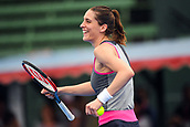 12th January 2018,  Kooyong Lawn Tennis Club, Kooyong, Melbourne, Australia; Priceline Pharmacy Kooyong Classic tennis tournament; Andrea Petkovic of Germany dances to pass time as the rain delays take hold during her final against Belinda Bencic of Switzerland