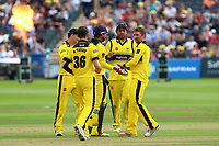Tom Smith of Gloucestershire celebrates taking the wicket of Ryan ten Doeschate during Gloucestershire vs Essex Eagles, NatWest T20 Blast Cricket at The Brightside Ground on 13th August 2017