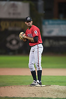 Billings Mustangs relief pitcher Andrew McDonald (48) prepares to deliver a pitch during a Pioneer League game against the Ogden Raptors at Lindquist Field on August 17, 2018 in Ogden, Utah. The Billings Mustangs defeated the Ogden Raptors by a score of 6-3. (Zachary Lucy/Four Seam Images)
