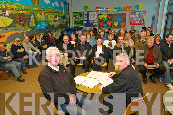 North Kerry Wind Turbine Awareness Meeting : Gerard Doyle, chairman & Tony O'Carroll, secretary addressing the Norh Kerry wind turbine awareness group meeting at Dromclough NS on Monday night to update the community on the planning application for wind turbines in the Ballyhorgan/Finuge area.