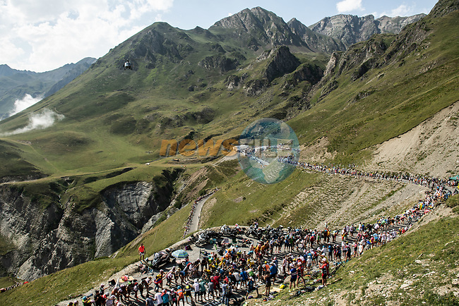 The GC contenders climb the Col du Tourmalet during Stage 14 of the 2019 Tour de France running 117.5km from Tarbes to Tourmalet Bareges, France. 20th July 2019.<br /> Picture: ASO/Alex Broadway | Cyclefile<br /> All photos usage must carry mandatory copyright credit (© Cyclefile | ASO/Alex Broadway)