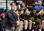 UNCASSVILLE, CT-031818JS03- Sacred Heart head coach Jon Carroll looks up at the scoreboard during their Division I championship game against Notre Dame-Fairfield Sunday at Mohegan Sun Arena. <br /> Jim Shannon Republican-American