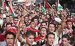 Palestinian supporters of the Popular Front for the Liberation of Palestine (PFLP), shout slogans and wave their country's and party's flag during a rally in the West Bank city of Ramallah. Palestinian president Mahmud Abbas and Israeli Prime Minister Ehud Olmert are to meet next week for new talks ahead of a US-sponsored peace conference, both sides said today.