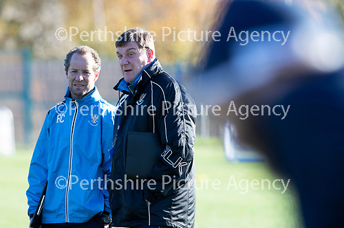 St Johnstone Training….  McDiarmid Park…26.10.18<br />Manager Tommy Wright and assitant Alec Cleland  pictured during training this morning ahead of tomorrow's game against St Mirren.<br />Picture by Graeme Hart.<br />Copyright Perthshire Picture Agency<br />Tel: 01738 623350  Mobile: 07990 594431