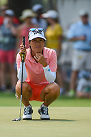Celine Boutier (FRA) looks over her birdie putt on 4 during round 4 of the 2019 US Women's Open, Charleston Country Club, Charleston, South Carolina,  USA. 6/2/2019.<br /> Picture: Golffile | Ken Murray<br /> <br /> All photo usage must carry mandatory copyright credit (© Golffile | Ken Murray)