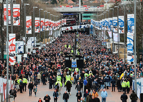 28.02.2016. Wembley Stadium, London, England. Capital One Cup Final. Manchester City versus Liverpool.  Both sets of fans pour along Wembley Way and into Wembley Stadium