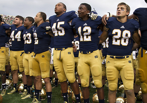 August 31, 2013:  Notre Dame players after NCAA Football game action between the Notre Dame Fighting Irish and the Temple Owls at Notre Dame Stadium in South Bend, Indiana.  Notre Dame defeated Temple 28-6.