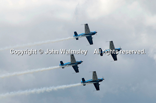 Aerostars YAK-50 display team at the Farnborough International Airshow .