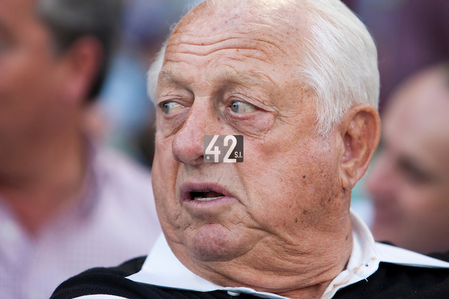 8 March 2009: Tommy Lasorda watches the game between Dominican Republic and Panama during the 2009 World Baseball Classic Pool D match at Hiram Bithorn Stadium in San Juan, Puerto Rico. Dominican Republic wins 9-0 over Panama.