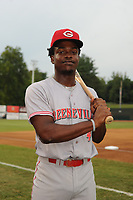 Ivan Johnson (4) of the Greeneville Reds poses for a photo prior to a game against the Bristol Pirates at Boyce Cox Field on July 31, 2019 in Bristol, Virginia. The Pirates defeated the Reds 13-3. (Tracy Proffitt/Four Seam Images)