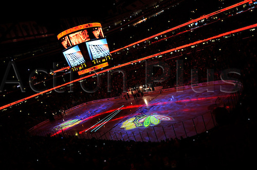 06 June 2010: An interior of the UC duirng the laser light show, prior to player introductions. The Chicago Blackhawks went on to take a one game lead in the Stanley Cup Finals, by defeating the Philadelphia Flyers, 7-4 at the United Center, Chicago, Il