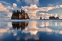 Second Beach with clouds and reflection at low tide. Olympic National Park, Washington.