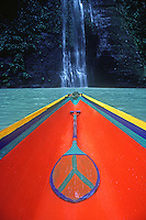 Traditional Boat at the Pangasinan waterfall, Philippines,