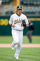 6 April 2008: A's #6 Travis Buck is seen during the Cleveland Indians 2-1 victory over the Oakland Athletics at the McAfee Coliseum in Oakland, CA.