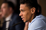 Apoel's Igor de Camargo attends to the Apoel FC press conference before Champions League match between Real Madrid and Apoel at Santiago Bernabeu Stadium in Madrid, Spain September 12, 2017. (ALTERPHOTOS/Borja B.Hojas)