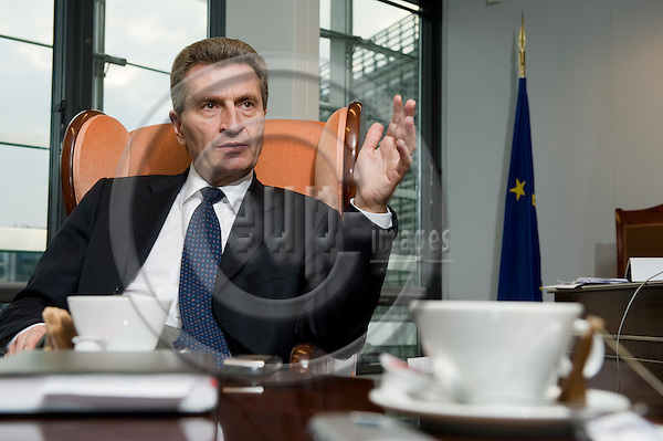 Brussels-Belgium - March 16, 2010 -- Günther (Gunther, Guenther) OETTINGER, European Commissioner from Germany, in charge of Energy, during an interview in his office -- Photo: Horst Wagner / eup-images