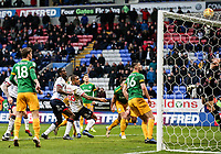 Preston North End's goalkeeper Declan Rudd tips the ball over the bar to deny Bolton Wanderers' an equaliser<br /> <br /> Photographer Andrew Kearns/CameraSport<br /> <br /> The EFL Sky Bet Championship - Bolton Wanderers v Preston North End - Saturday 9th February 2019 - University of Bolton Stadium - Bolton<br /> <br /> World Copyright © 2019 CameraSport. All rights reserved. 43 Linden Ave. Countesthorpe. Leicester. England. LE8 5PG - Tel: +44 (0) 116 277 4147 - admin@camerasport.com - www.camerasport.com