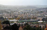 A view of the city of Bath, with the Recreation Ground, home of Bath Rugby, in the foreground. Aviva Premiership match, between Bath Rugby and Gloucester Rugby on October 25, 2013 at the Recreation Ground in Bath, England. Photo by: Patrick Khachfe / Onside Images