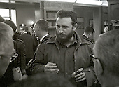 "Prime Minister Fidel Castro of Cuba speaks to reporters after addressing a National Press Club luncheon in Washington, DC on April 20, 1959.  His appearance came less than four months after he seized power in Cuba and he said he had no dictatorial ambitions.<br /> Credit: Benjamin E. ""Gene"" Forte / CNP"