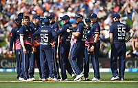 England players celebrate the wicket of Munro.<br /> New Zealand Black Caps v England, ODI series, University Oval in Dunedin, New Zealand. Wednesday 7 March 2018. &copy; Copyright Photo: Andrew Cornaga / www.Photosport.nz