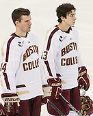 Brooks Dyroff (BC - 14), Johnny Gaudreau (BC - 13) - The Boston College Eagles defeated the visiting University of Massachusetts Lowell River Hawks 6-3 on Sunday, October 28, 2012, at Kelley Rink in Conte Forum in Chestnut Hill, Massachusetts.
