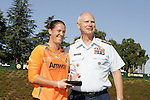 26 September 2010: FC Gold Pride's Nicole Barnhart (left) is presented with the Coast Guard Goalkeeper of the Year Award by Rear Admiral Tim Sullivan (right). FC Gold Pride defeated the Philadelphia Independence 4-0 at Pioneer Stadium in Heyward, California in the Women's Professional Soccer championship game.