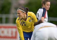 Sweden's Therese Sjögran action during the match against Sweden, Landskamp, Sweden, July 5th, 2008.