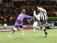 Danny Rogers comes out bravely to stop Lawrence Shankland in the St Mirren v Falkirk Scottish Professional Football League Ladbrokes Championship match played at the Paisley 2021 Stadium, Paisley on 1.3.16.