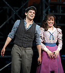 Jeremy Jordan, Kara Lindsay.during the 'NEWSIES' Opening Night Curtain Call at the Nederlander Theatre in New York on 3/29/2012