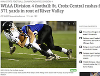 Saint Croix Central's Cody Kavitz tackles River Valley's Derek Wedige in the second half Thursday, as St. Croix Central tops River Valley, 49-28, to win the WIAA Division 4 state football championship at Camp Randall Stadium in Madison | Wisconsin State Journal front page Sports 11/18/16 and on-line at http://host.madison.com/wsj/sports/high-school/football/wiaa-division-football-st-croix-central-rushes-for-yards-in/article_cfa2ae95-1ab8-5115-9c0e-d236a64337c5.html