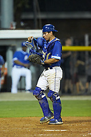 Burlington Royals catcher Freddy Fermin (49) on defense against the Kingsport Mets at Burlington Athletic Stadium on July 27, 2018 in Burlington, North Carolina. The Mets defeated the Royals 8-0.  (Brian Westerholt/Four Seam Images)