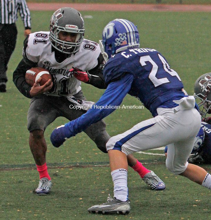 Darien, CT-120614MK06 Naugatuck's CJ Wall (81) looks to avoid Darien's Christian Trifone (24) during the CIAC Class L Large semi-final game at Darien High School Saturday afternoon. Darien defeated Naugatuck 42-12. Michael Kabelka / Republican-American