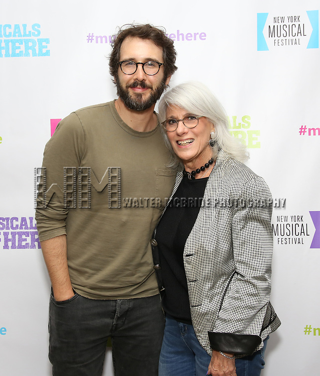 "Josh Groban and Jamie deRoy backstage at the New York Musical Festival production of  ""Alive! The Zombie Musical"" at the Alice Griffin Jewel Box Theatre on July 29, 2019 in New York City."