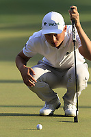 Haotong Li (CHN) lines up his putt to win on the 18th green at the end of Sunday's Final Round of the 2018 Turkish Airlines Open hosted by Regnum Carya Golf &amp; Spa Resort, Antalya, Turkey. 4th November 2018.<br /> Picture: Eoin Clarke | Golffile<br /> <br /> <br /> All photos usage must carry mandatory copyright credit (&copy; Golffile | Eoin Clarke)