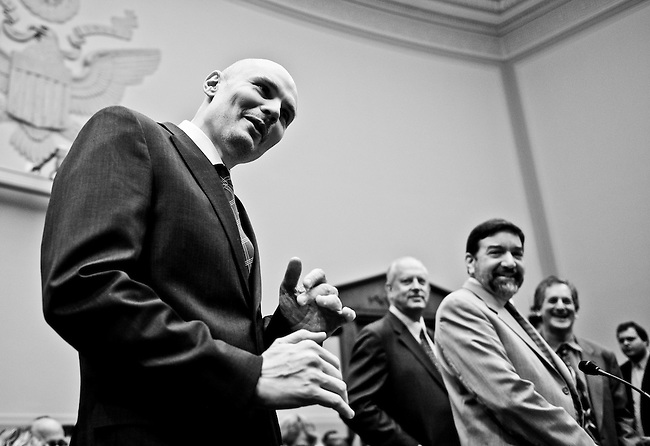 Smashing Pumpkins singer Billy Corgan talks to photographers before the start of the House Judiciary Committee hearing on the Performance Rights Act on March 10, 2009.