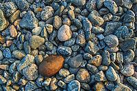 Små stenar på en havsstrand Torö Stockholms skärgård