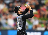 Kane Williamson takes a catch to dismiss Roy.<br /> New Zealand Black Caps v England.Tri-Series International Twenty20 cricket. Eden Park, Auckland, New Zealand. Sunday 18 February 2018. &copy; Copyright Photo: Andrew Cornaga / www.Photosport.nz