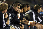 All Black captain Richie McCaw sits with the reserves during  the first international rugby test at Eden Park, Auckland, New Zealand, Saturday, June 02, 2007. The All Blacks beat France 42-11.