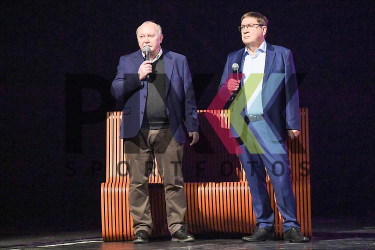 """Jörg / Joerg Wontorra (BTB Praesitium) und rechts Lothar Quast (Buergermeister MA) bei der Turn Gala """"Celebration"""" in der SAP Arena Mannheim.<br /> <br /> Foto © Ruffler *** Foto ist honorarpflichtig! *** Auf Anfrage in hoeherer Qualitaet/Aufloesung. Belegexemplar erbeten. Veroeffentlichung ausschliesslich fuer journalistisch-publizistische Zwecke. For editorial use only."""
