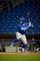 South Bend Cubs catcher Michael Cruz (8) at bat during the second game of a doubleheader against the Lake County Captains on May 16, 2018 at Classic Park in Eastlake, Ohio.  Lake County defeated South Bend 5-2.  (Mike Janes/Four Seam Images)