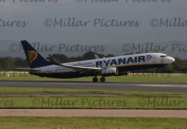 A Ryanair Boeing 737-8AS Registration EI-DWT bound for Alicante Airport, Spain taking off at Manchester Airport on 17.10.13.