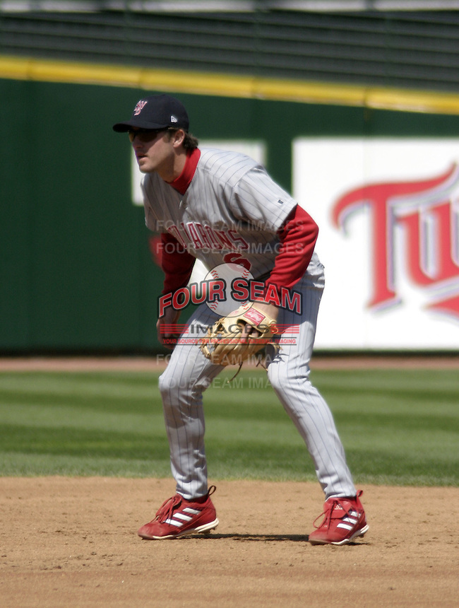 April 24, 2004:  Second baseman Chase Utley (6) of the Scranton-Wilkes Barre Red Barons, Class-AAA International League affiliate of the Philadelphia Phillies, during a game at Frontier Field in Rochester, NY.  Photo by:  Mike Janes/Four Seam Images