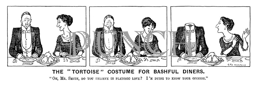 """The """"Tortoise"""" Costume for Bashful Diners. """"Oh, Mr. Smith, do you believe in platonic love? I'm dying to know your opinion."""""""
