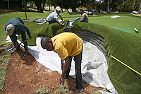 Building a play bunker for the kids during the preview of the Tshwane Open 2015 at the Pretoria Country Club, Waterkloof, Pretoria, South Africa. Picture:  David Lloyd / www.golffile.ie. 10/03/2015