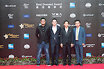 He Changzai, Zhu Weijie, Xu Yongming, and Liu Kailuo walk the Red Carpet event at the World Celebrity Pro-Am 2016 Mission Hills China Golf Tournament on 20 October 2016, in Haikou, China. Photo by Weixiang Lim / Power Sport Images