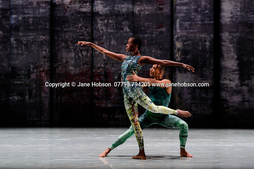 Rambert presents RAMBERT EVENT, by Merce Cunningham, at Sadler's Wells. Choreography by Merce Cunningham, staging by Jeannie Steele, Music by Philip Selway, Quinta and Adem Ilhan, designs inspired by Gerhard Richter's 'Cage' series, performed by Rambert. The dancers are: Kym Sojourna, Jacob Wye