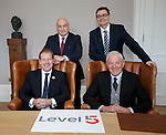 Murdo MacLeod and Walter Smith with Jim Traynor and Stephen Kerr at the launch of Level5 PR in Glasgow